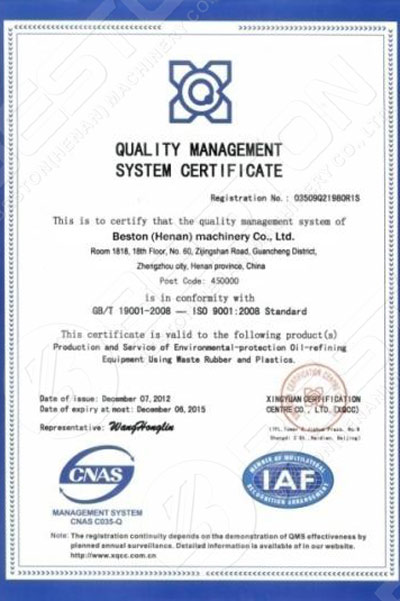 Beston Certificación del sistema de gestión de la calidad
