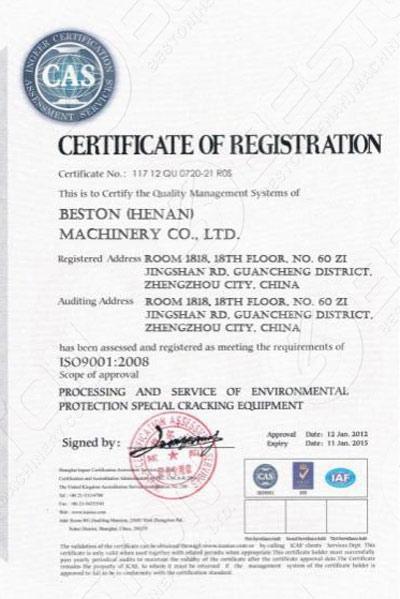 Certificación ISO de Beston Equipo