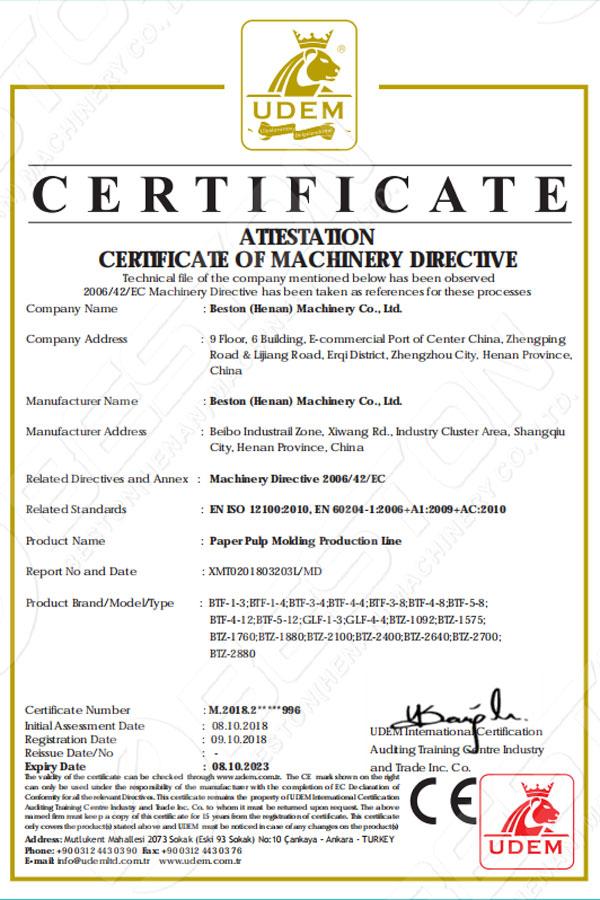 Certificación de Beston Línea de producción de moldeo de pulpa