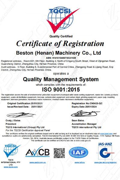 Beston Certificación QMS