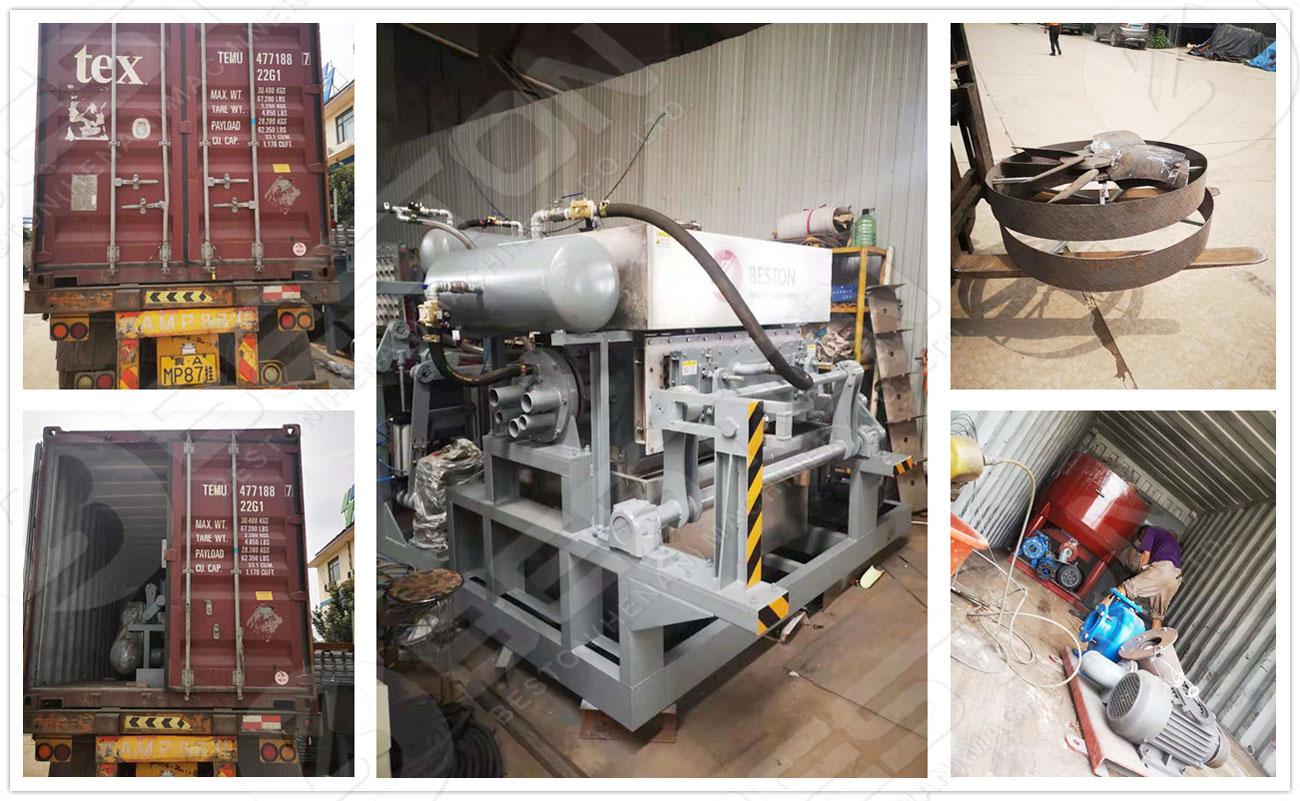 Detalles de envío de la máquina para fabricar bandejas de huevos a Zambia