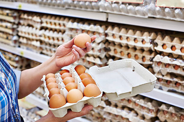 Cartons d'oeufs en supermarché